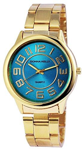 Donna Kelly Damen analog Armbanduhr mit Quarzwerk 191303500001 Metallgehaeuse mit Edelstahl Armband in Goldfarbig und Faltschliesse Ziffernblattfarbe Hellblau Bandgesamtlaenge 19 cm Armbandbreite 20 mm