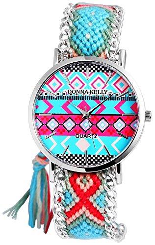 Donna Kelly Damen mit Quarzwerk 191128500001 Metallgehaeuse mit Textil Armband in Mehrfarbig und Ziffernblattfarbe Mehrfarbig Bandgesamtlaenge 24 cm Armbandbreite 20 mm