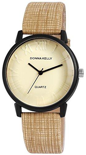 Donna Kelly Damen analog Armbanduhr mit Quarzwerk 191276500004 Metallgehaeuse mit Kunstleder Armband in Olivgruen und Dornschliesse Ziffernblattfarbe Hellgruen Bandgesamtlaenge 23 cm Armbandbreite 20 mm