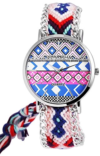 Donna Kelly Damen analog Armbanduhr mit Quarzwerk 191128100001 Metallgehaeuse mit Textil Armband in Mehrfarbig und Ziffernblattfarbe Mehrfarbig Bandgesamtlaenge 24 cm Armbandbreite 20 mm
