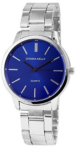 Donna Kelly Damen mit Quarzwerk 191323000002 Metallgehaeuse mit Edelstahl Armband in Silberfarbig und Faltschliesse Ziffernblattfarbe Blau Bandgesamtlaenge 19 cm Armbandbreite 18 mm