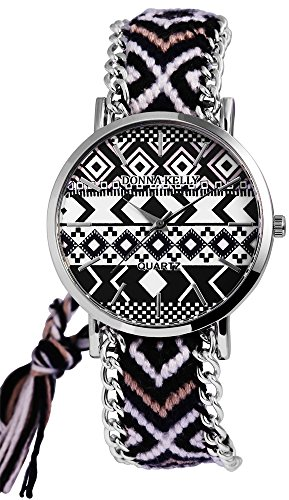 Donna Kelly Damen mit Quarzwerk 191128300001 Metallgehaeuse mit Textil Armband in Mehrfarbig und Ziffernblattfarbe Mehrfarbig Bandgesamtlaenge 24 cm Armbandbreite 20 mm