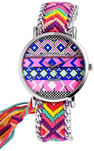 Donna Kelly Damen analog Armbanduhr mit Quarzwerk 191128200001 Metallgehaeuse mit Textil Armband in Mehrfarbig und Ziffernblattfarbe Mehrfarbig Bandgesamtlaenge 24 cm Armbandbreite 20 mm