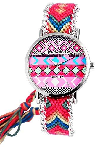 Donna Kelly Damen analog Armbanduhr mit Quarzwerk 191128000001 Metallgehaeuse mit Textil Armband in Mehrfarbig und Ziffernblattfarbe Mehrfarbig Bandgesamtlaenge 24 cm Armbandbreite 20 mm