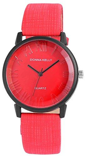 Donna Kelly Damen analog Armbanduhr mit Quarzwerk 191275000004 Metallgehaeuse mit Kunstleder Armband in Rot und Dornschliesse Ziffernblattfarbe Rot Bandgesamtlaenge 23 cm Armbandbreite 20 mm
