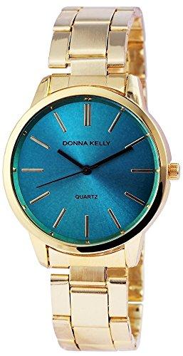 Donna Kelly Damen mit Quarzwerk 191303500002 Metallgehaeuse mit Edelstahl Armband in Goldfarbig und Faltschliesse Ziffernblattfarbe Hellblau Bandgesamtlaenge 19 cm Armbandbreite 18 mm