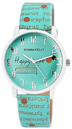 Donna Kelly Damen mit Quarzwerk 191293500005 Metallgehaeuse mit Kunstleder Armband in Mintgruen und Dornschliesse Ziffernblattfarbe Mintgruen Bandgesamtlaenge 23 cm Armbandbreite 20 mm