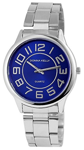 Donna Kelly Damen mit Quarzwerk 191323000001 Metallgehaeuse mit Edelstahl Armband in Silberfarbig und Faltschliesse Ziffernblattfarbe Blau Bandgesamtlaenge 19 cm Armbandbreite 20 mm