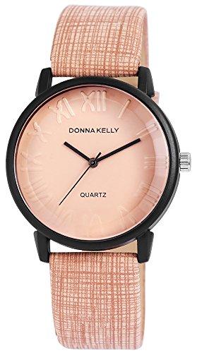 Donna Kelly Damen analog Armbanduhr mit Quarzwerk 191271500004 Metallgehaeuse mit Kunstleder Armband in Taupe und Dornschliesse Ziffernblattfarbe Taupe Bandgesamtlaenge 23 cm Armbandbreite 20 mm