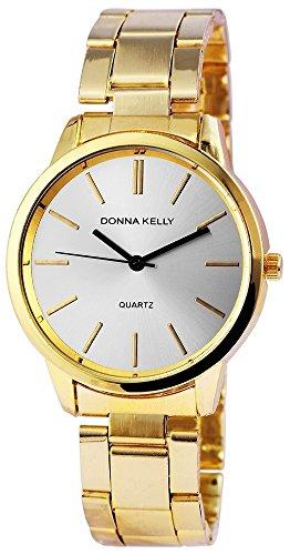 Donna Kelly Damen analog Armbanduhr mit Quarzwerk 191302500002 Metallgehaeuse mit Edelstahl Armband in Goldfarbig und Faltschliesse Ziffernblattfarbe Silber Bandgesamtlaenge 19 cm Armbandbreite 18 mm