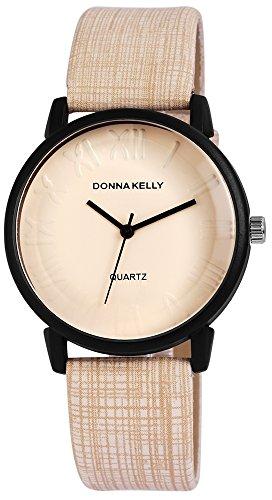 Donna Kelly Damen mit Quarzwerk 191277500004 Metallgehaeuse mit Kunstleder Armband in Beige und Dornschliesse Ziffernblattfarbe Beige Bandgesamtlaenge 23 cm Armbandbreite 20 mm