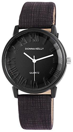 Donna Kelly Damen analog Armbanduhr mit Quarzwerk 191271000004 Metallgehaeuse mit Kunstleder Armband in Schwarz und Dornschliesse Ziffernblattfarbe Schwarz Bandgesamtlaenge 23 cm Armbandbreite 20 mm