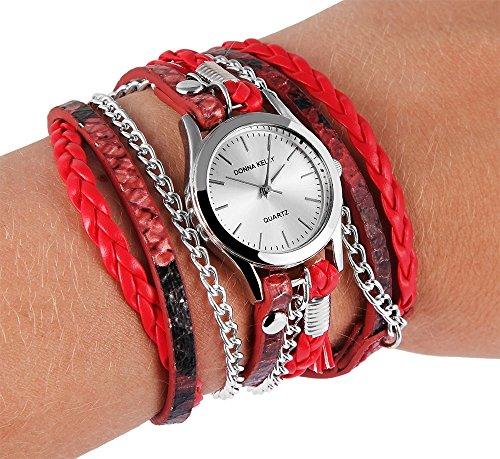 Donna Kelly Damenuhr analog Armbanduhr Silberfarbig Quarzwerk und Metallgehaeuse rund 28mm x 8mm Kunstlederarmband Rot 56 5cm x 14mm Druckknopf und Ziffernblatt in silberfarbig 191625000002