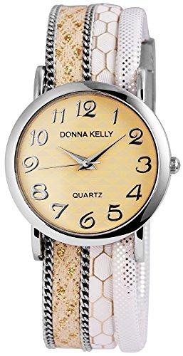 Donna Kelly Damenuhr analog Armbanduhr Silberfarbig Quarzwerk und Metallgehaeuse rund 34mm x 7mm Textilarmband Weiss 20cm x 20mm und Ziffernblatt in beige 191627500001
