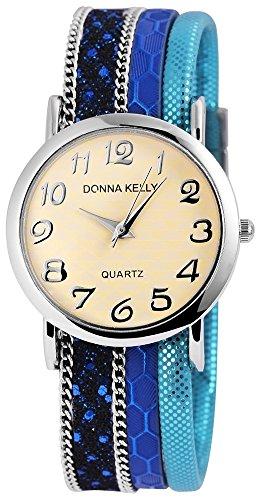 Donna Kelly Silberfarbig Quarzwerk und Metallgehaeuse rund 34mm x 7mm Textilarmband Blau 20cm x 20mm und Ziffernblatt in beige 191623000001