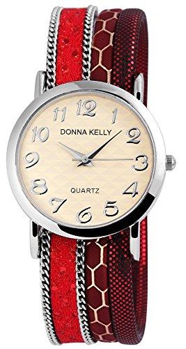 Donna Kelly Silberfarbig Quarzwerk und Metallgehaeuse rund 34mm x 7mm Textilarmband Rot 20cm x 20mm und Ziffernblatt in beige 191625000001