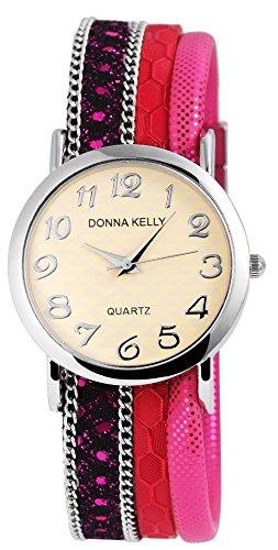 Donna Kelly Silberfarbig Quarzwerk und Metallgehaeuse rund 34mm x 7mm Textilarmband Pink 20cm x 20mm und Ziffernblatt in beige 191623800001