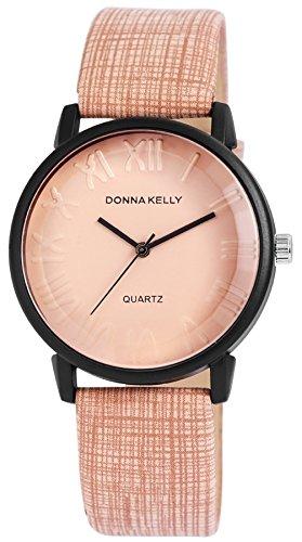Donna Kelly Beige Clock Trendy Women Watch analoge Pu Leder Damenuhr Quartz