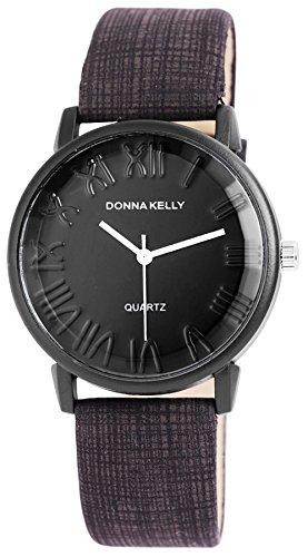 Donna Kelly Black Clock Trendy Women Watch analoge Pu Leder Quartz