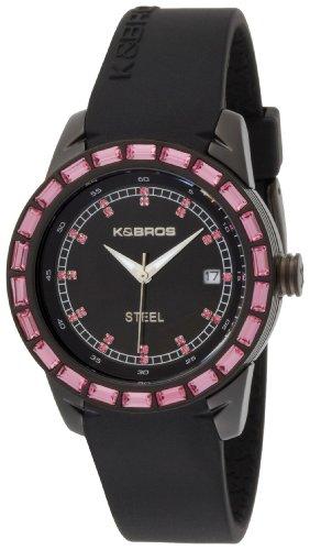 K BROS Frauen 9165 1 Stahl Rosa Accent und Black Silicon Band zu sehen