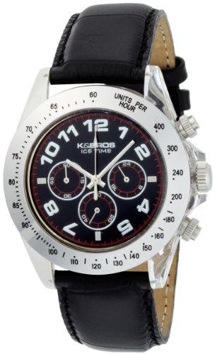 K BROS Maenner 9423 5 Ice Time Chronograph Black Dial Black Leather Uhr