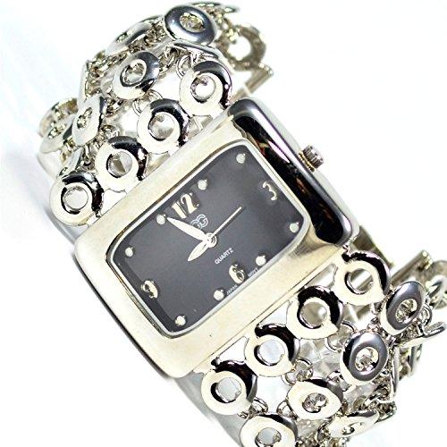 Armbanduhr Schwarz Silber Mode Fashion Uhr mit Faltschliesse