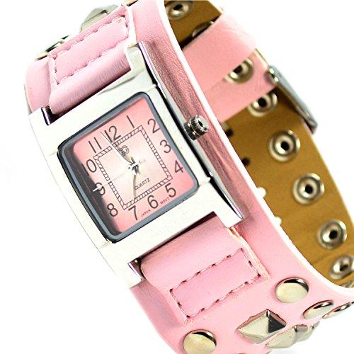 Armbanduhr in Rasa Silber mit Nieten Trend Mode Fashion Uhr