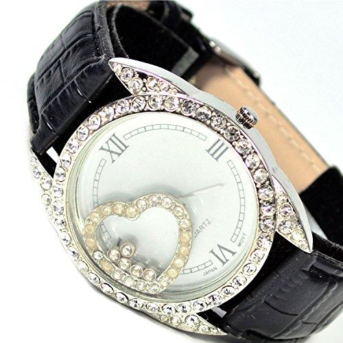 XXl Armbanduhr in Silber Strasssteine sehr Edele Elegante mit Herz