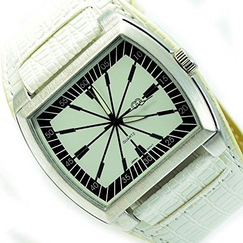 Armbanduhr Weiss Rot Datumsanzeige Elegant Sportlich Uhr al 585
