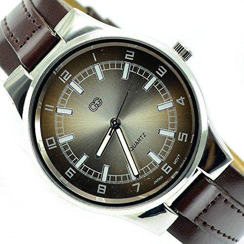 Slim Klassische Armbanduhr Braun Silber sehr Edel Elegant al 584