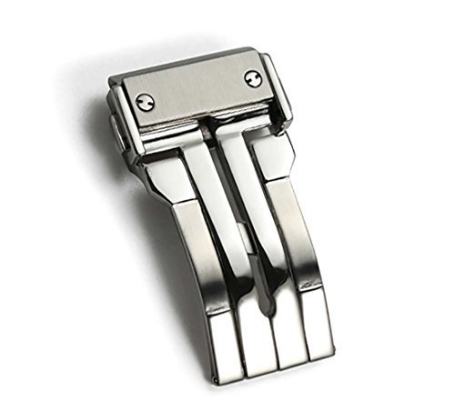 24 mm Faltschliesse mit Doppeltaste aus Edelstahl Farbe Silber