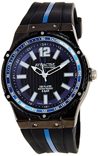 Q Q Attractive DA02J512 schwarz und blau mit Silikon armband Analog