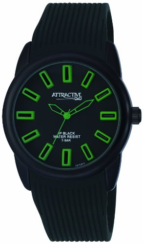 Q Q Attractive DB10J512 schwarz mit Silikon armband Analog