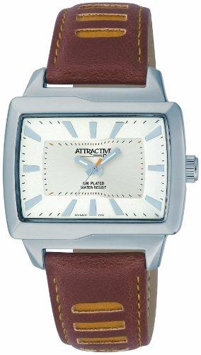 Q Q Attractive DA10J301 braun mit Leder armband Analog