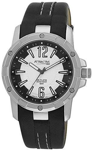 Q Q Attractive DA22J301 schwarz mit Leder armband Analog