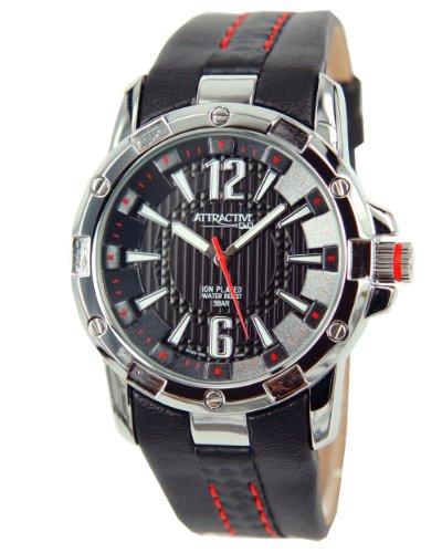 Q Q Attractive DA22J302 schwarz mit Leder armband Analog