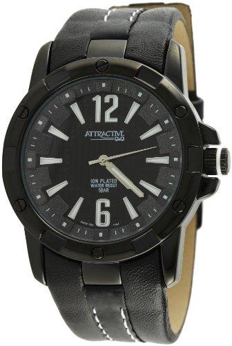 Q Q Attractive DA22J502 schwarz mit Leder armband Analog