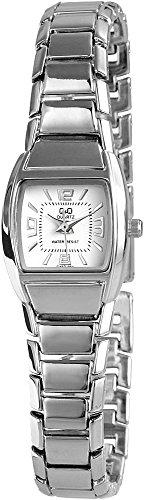 Q Q Elegante Weiss Silber Analog Metall Armbanduhr Quarz Uhr