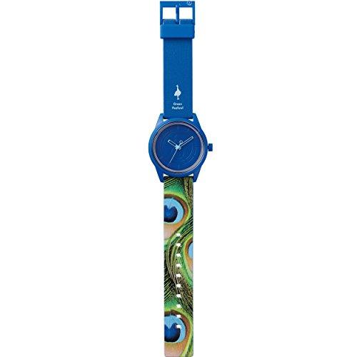 Q Q SmileSolar Peafowl Unisex Solar Uhr mit Plastik armband Analog Quarz RP00J034