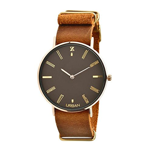 Uhr Zzero Urban zu008d Quarz Batterie Stahl vergoldet gelb Quandrante braun Armband Leder