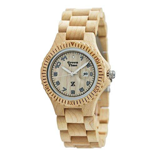 Uhr Zzero Green Time zw006b Quarz Batterie Holz Quandrante weiss Armband Holz