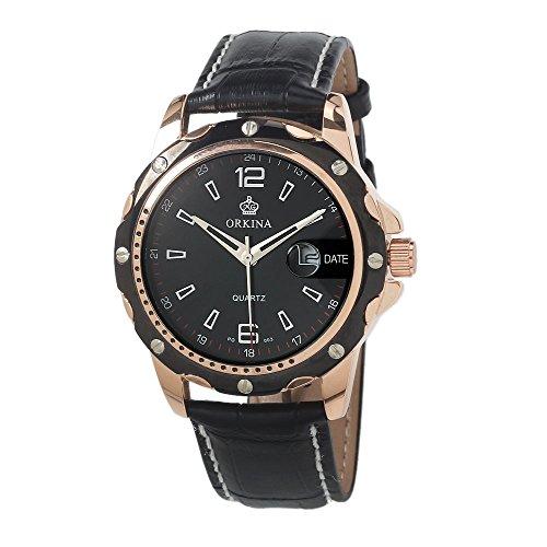 MG ORKINA Schwarz Leder Luxus Style Herren Quarz Armbanduhr Schwarz Zifferblatt mit Kalender
