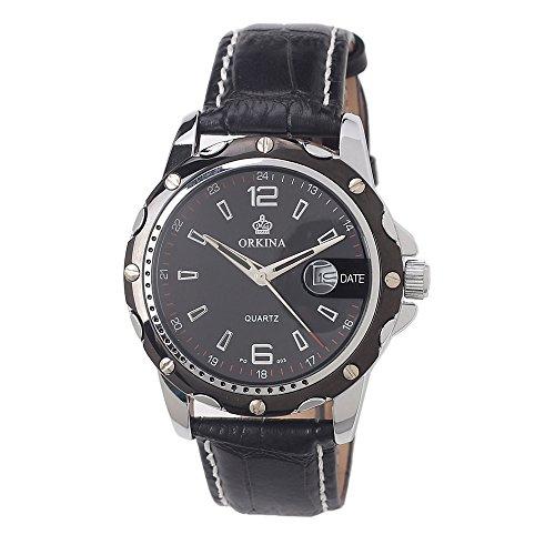 MG ORKINA Schwarz Leder Herren Luxus Quarz Armbanduhr Schwarz Zifferblatt mit Kalender