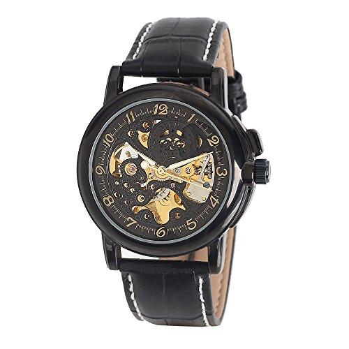 MG ORKINA Herren Schwarz Skelett Zifferblatt Mechanische Lederband Armbanduhr
