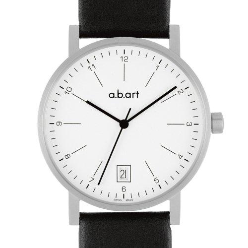 a b art Herren Armbanduhr O103 Analog Leder schwarz O103