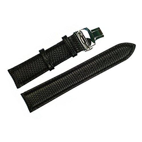 acunion TM 20 mm Eidechsenpraegung Kuh Leder Uhrenarmband Push Button Faltschliesse Watch Band Schwarz