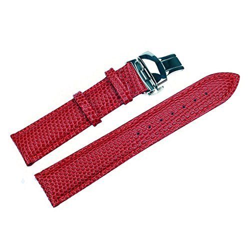 acunion TM 20 mm Rindsleder Leder Armbanduhr Band Push Button Faltschliesse Leder Uhrenarmband rot