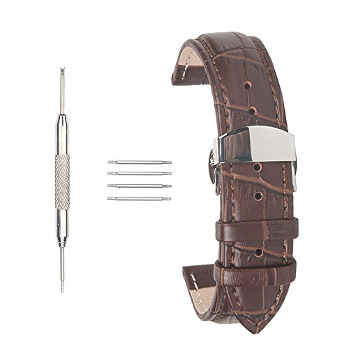 acunion TM 22 mm KALB LEDER Watch Band Schmetterling Button Faltschliesse Leder Uhrenarmband braun