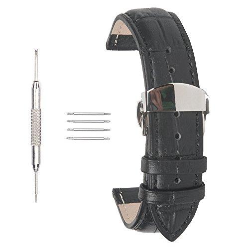 acunion TM 22 mm KALB LEDER UHRENARMBAND Push Button Schmetterling Faltschliesse Armbanduhr Band Schwarz