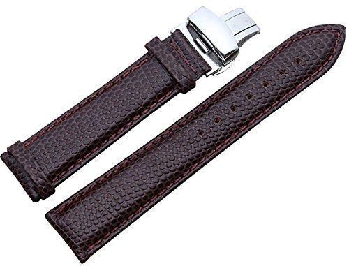 acunion TM Lizard gepraegtem Rindsleder echtes Leder Armband Push Button Faltschliesse Handgelenk Armbanduhr Band 18 mm braun